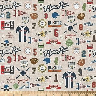 Riley Blake Varsity Baseball Main Tan Fabric by The Yard