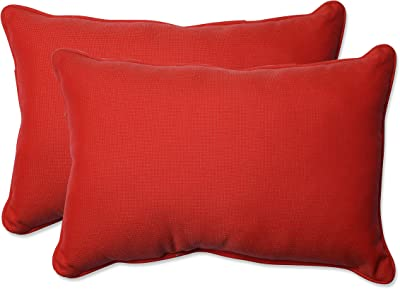 Pillow Perfect Outdoor/Indoor Tweed Over-Sized Rectangular Throw Pillow (Set of 2), Red
