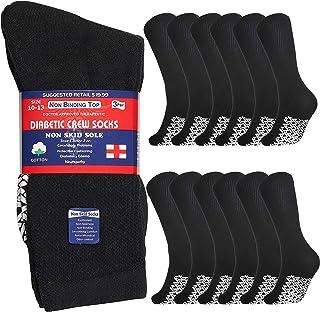Special Essentials 12 Pairs Men's Cotton Non Slip Diabetic Crew Socks Black 13-15