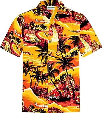 Camisa Hawaiana | Hombre | Manga Corta | 100% Algodón | S - 8XL | Playa | Palmas | Naranja | Hawaiiana | Hawaii | Barata