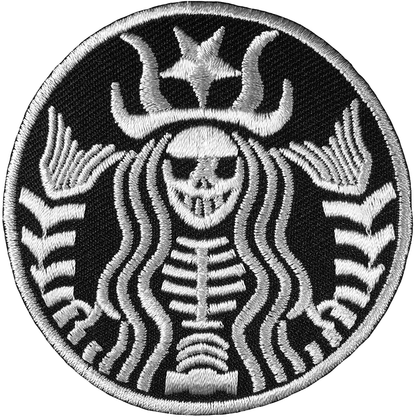 Dead Mermaid Skull Skeleton Zombie Halloween Sewing Iron on Embroidered Patch - Black (IRON-MERMAID-BOR-WH)
