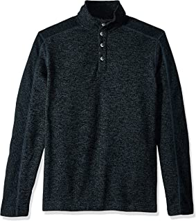 Van Heusen Men's Big and Tall Solid Button Mock Sweater Fleece