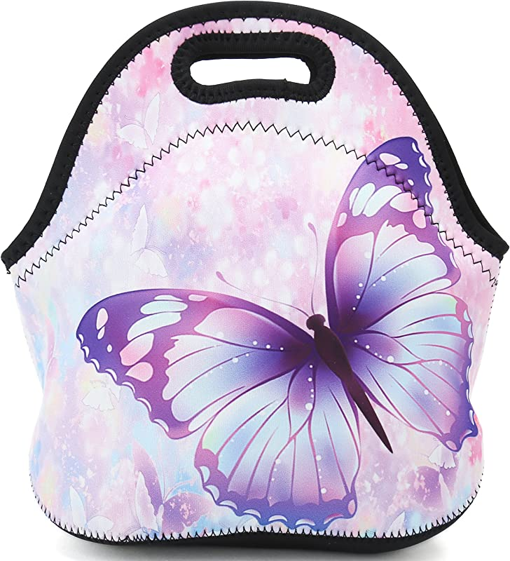 Lunch Bag Neoprene Insulated Lunch Tote Food Holder Reusable Adults Women Kids Boys Girls And Men Lunch Box For School Work Office Outdoor Travel Picnic Purple Butterfly 2