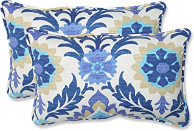 """Pillow Perfect Outdoor/Indoor Santa Maria Azure Lumbar Pillows, 11.5"""" x 18.5"""", Blue, 2 Pack"""