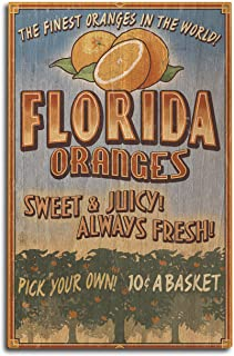 Lantern Press Florida – Orange Grove Vintage Sign (10×15 Wood Wall Sign, Wall..
