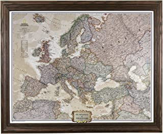 Push Pin Travel Maps Personalized Executive Europe with Solid Wood Brown Frame and Pins