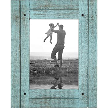 """Americanflat Picture Frame in Turquoise Blue with Three Displays Textured Wood and Polished Glass for Wall and Tabletop - 5"""" x 7"""""""