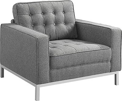 Iconic Home Draper, Club Chair, Grey