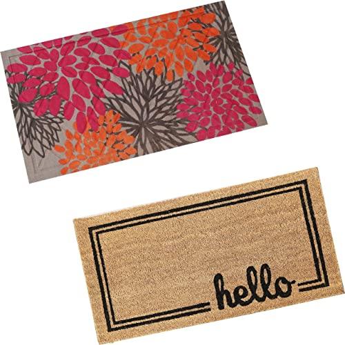 """new arrival Sunnydaze 17"""" x 30"""" Indoor/Outdoor 53-Percent wholesale Coir and 47-Percent PVC Construction Hello Entrance Mat with Border and Pink/Orange Floral 17"""" x 2021 29"""" Decorative Indoor Rubber and Polyester Mat Bundle online sale"""