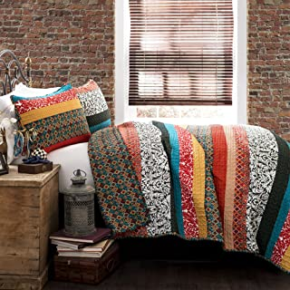 Lush Decor Boho Stripe Quilt Reversible 3 Piece Bohemian Design Bedding Set, Full/Queen, Turquoise & Tangerine