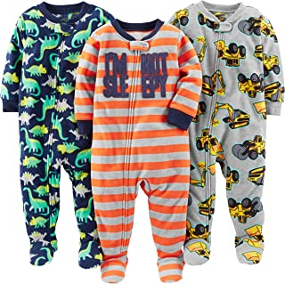 Simple Joys by Carter's 3-Pack Loose Fit Flame Resistant Fleece Footed Pajamas Bebé-Niños