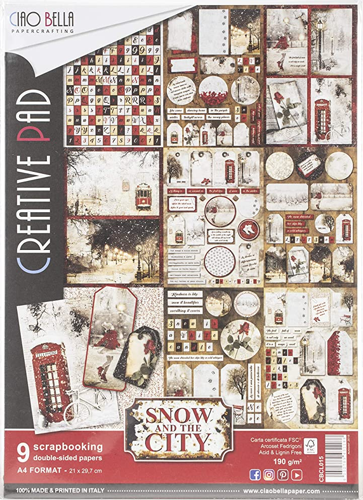 Ciao Bella CBCL015 Double-Sided Paper Pack 90lb A4 9/Pkg-Snow & The City, 9 Designs/1