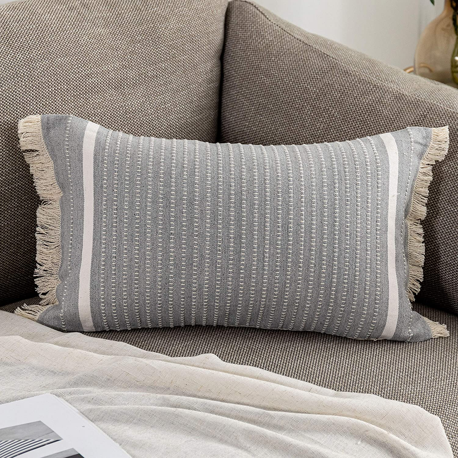 OJIA Modern Throw Pillow Challenge the lowest price Cover Fr Tassels Decorative Award-winning store Liana with