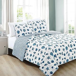 Home Fashion Designs 2-Piece Coastal Beach Theme Quilt Set with Shams. Soft All-Season Luxury Microfiber Reversible Bedspr...