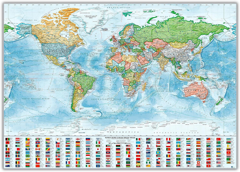 Pinnwand im Alu-Rahmen  Politische Weltkarte, 140x100 cm, englisch, Aktuell  Stand 2016