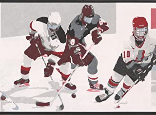 Vintage Hockey Black White Red Sports Wallpaper Border Retro Design, Roll 15' x 7''