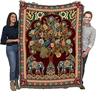 Pure Country Weavers | Asian Elephants Woven Blanket | Wall Tapestry Throw with Fringe Cotton USA 72x54