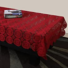 STITCHNEST - Net Table Cloth, 4 Seater, Maroon, Pack of 1