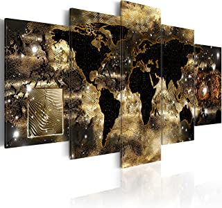 World Map Canvas Wall Art Large Gold Compass Picture Modern Painting Continents of Bronze Artwork Framed Home Decor for Bedroom 5 Panel Easy Hanging 60x30 inch