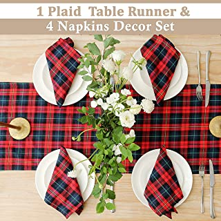 BETTERLINE Table Runner and 4 Napkins - Red Tartan Pattern for Christmas - 110 Inch x 14 Inch Runner and 17 Inch x 17 Inch Napkins - in Gift Box (Red Tartan Plaid Design)