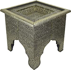 MAISON ANDALUZ Tavolino da caffè Marocchino Quadrato, in Argento, Dimensioni 48 x 48 x 40 cm (l x p x h)
