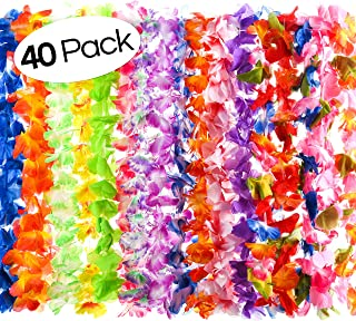 40 Count Hawaiian Flower Lei for Luau Party - Bulk Set of Floral Necklace Leis Vibrant Colors Assortment for Party Favors, Garland Decorations or Ornaments for Any Occasion