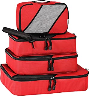 Travel Packing Cubes by milepro: 4 Piece Travel Packing Cube Set, Includes Four Durable Luggage Organizers plus Laundry/Sh...