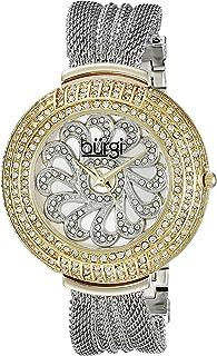 Burgi Women's BUR051 Analog Display Japanese Quartz Silver Watch - Stainless Steel Mesh Bracelet - Gold Crystal Filled Case