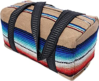 "Serape Style Carry On Shoulder Tote Duffel Bag 18""x 10""x 10"" Lightweight Duffel Bag with Hand-Woven Mexican Serape Design (Tan)"