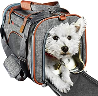E Ess & Craft Pet Carrier for Small Pets | Approved by Most Airlines | | Side Loaded Travel Bag with Sturdy Bottom & Fleece Cushion | Ventilated Pouch with Faux Leather Top Handle & Zipper Locks |