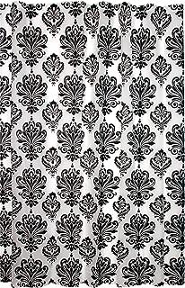 black and white damask bathroom decor