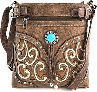 Tooled Gleaming Turquoise Stone Floral Laser Cut Rhinestone Messenger Bag Purse with Long Cross Body Strap