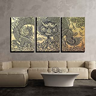 wall26 - 3 Piece Canvas Wall Art - The Old Pattern of Dragon - Modern Home Decor Stretched and Framed Ready to Hang - 16