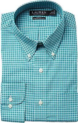 LAUREN Ralph Lauren Slim Fit Non Iron Broadcloth Plaid Button Down Collar Dress Shirt