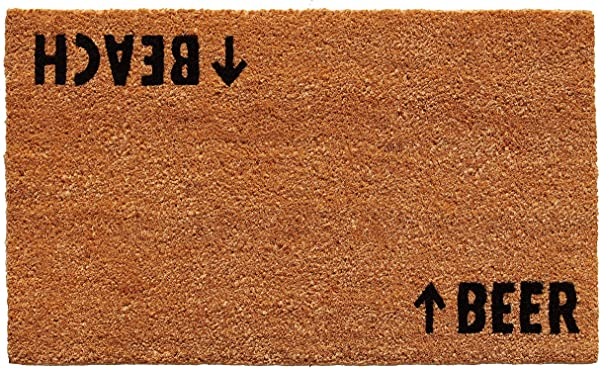 Calloway Mills 100481729 Beach Beer Doormat 17 X 29 Natural Black