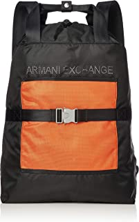 Armani Exchange Men's Drawstring Backpack, black/flame, UNI