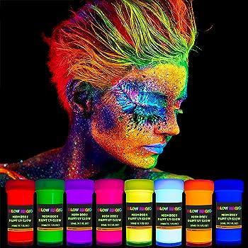 GLOW MAGIC Neon UV Body Paint Set – 8 x 20 ml / 0.7 fl oz – Black Light Make Up – Bodypainting Neon Blacklight Bodypaint Face & Finger Paints