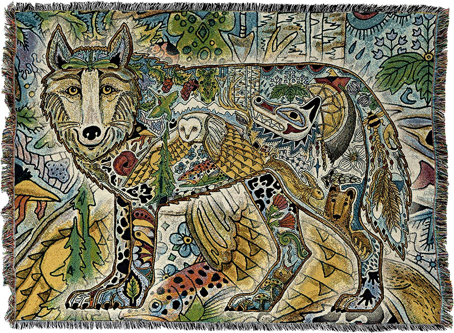 Pure Country Weavers   Wolf Woven Northwest Native Totem Tapestry Throw Blanket with Fringe Cotton USA 72x54