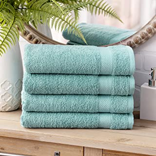 Welhome 100% Cotton Towel (Duck Egg)- Set of 4 Bath Towels - Quick Dry - Absorbent - Soft - Ideal for Daily Use - 434 GSM...