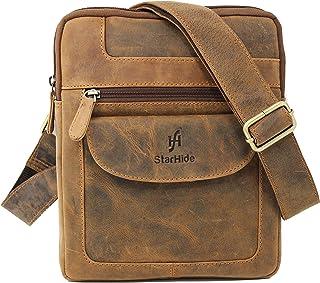 (Brown (Hunter)) - StarHide Men's Women's Distressed Hunter Real Leather Cross Body/Shoulder / Travel Messenger Bag For Kindle Ipad Tablet - 505