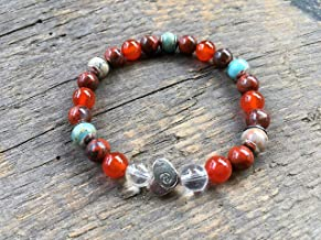 Handmade Comfort Bracelet, Crystal Quartz | Carnelian Gemstone, Protection | Self Help, 8MM Round Beads