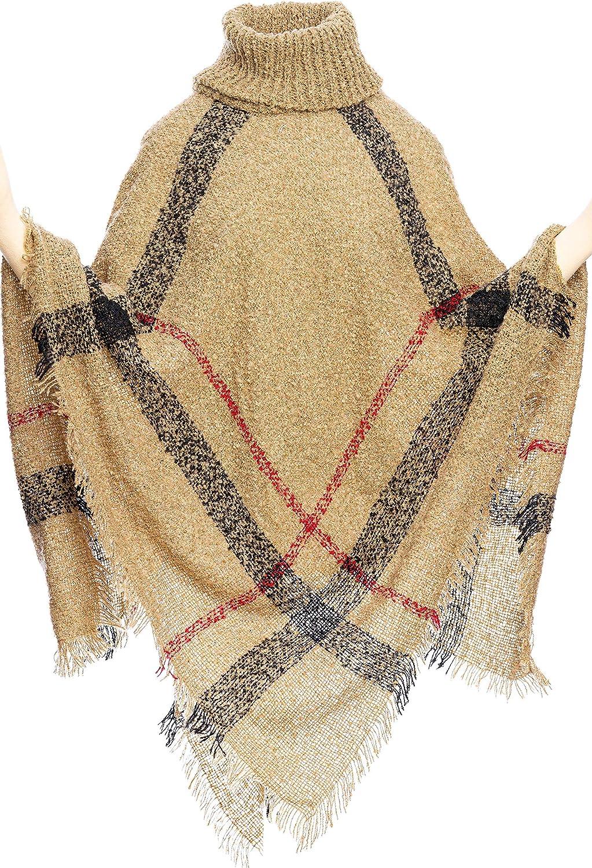Women's Poncho Turtleneck Plaid Capes Shawl Cardigans Sweater
