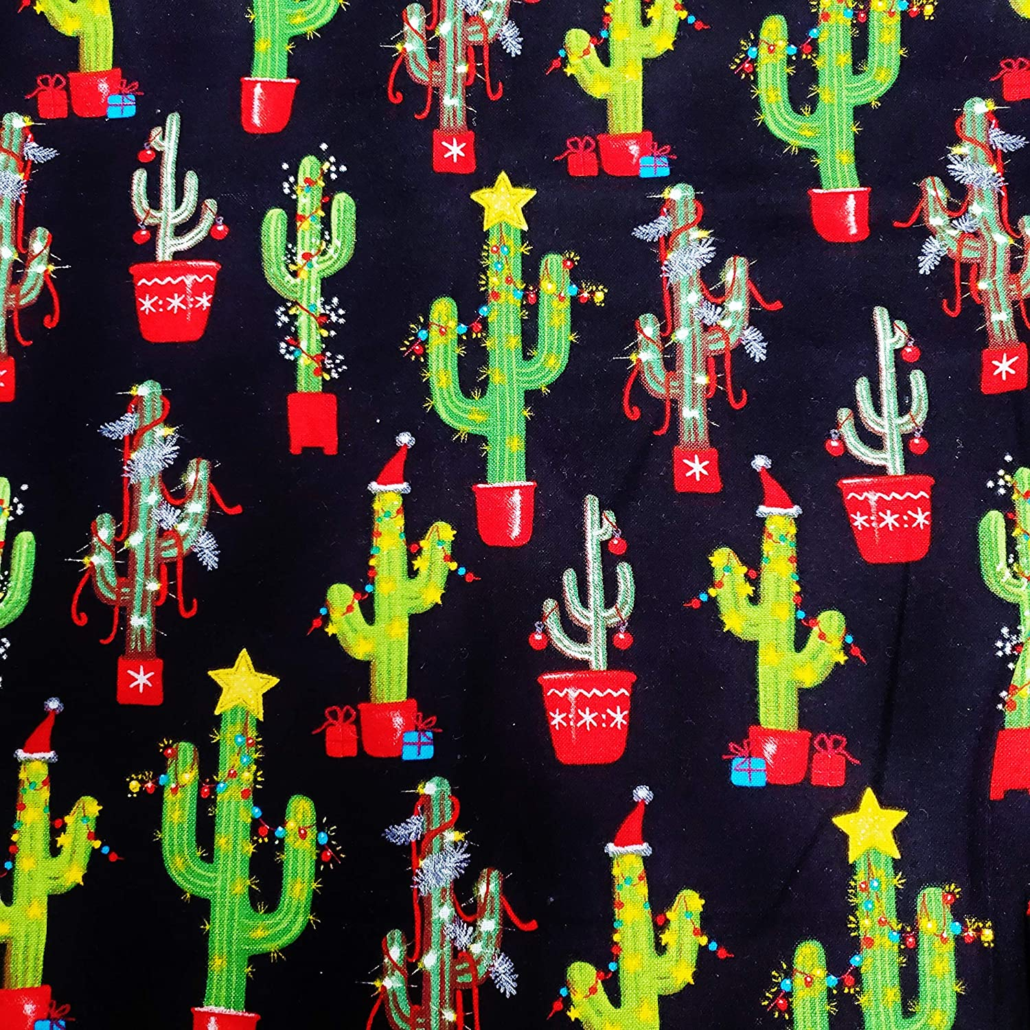 Fat Quarter - Super Special SALE held Christmas Decorated Design Flannel Popular shop is the lowest price challenge Cot Cactus 100%