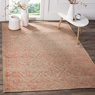 Safavieh Chester Collection CHS522A Hand-knotted Wool & Bamboo Silk Area Rug, 6' x 9', Dark Beige/Coral