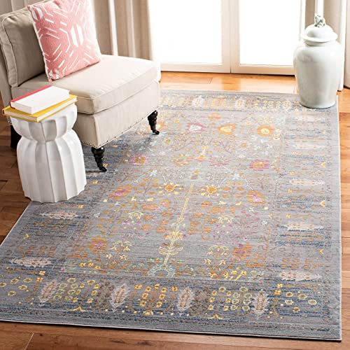 Safavieh Valencia Collection VAL108C Grey and Multi Vintage Distressed Silky Polyester Area Rug (5' x 8')