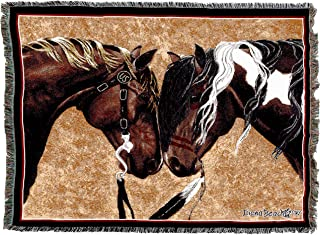 Pure Country Weavers   Warriors Truce II Horses Woven Tapestry Throw Blanket with Fringe Cotton USA 72x54