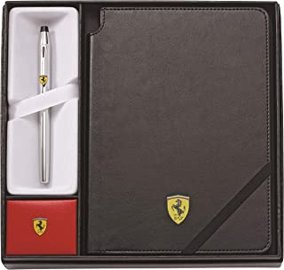 Cross Ferrari Century II Rollerball Pen With Black Journal Gift Set, Medium Journal, Polished Chrome