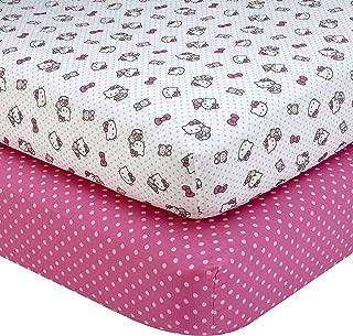 Sanrio Hello Kitty Cute as a Button 2 Piece Sheet Set, Pink/White