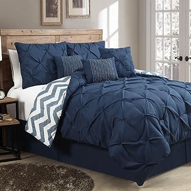 Avondale Manor 7-Piece Ella Pinch Pleat Comforter Set, Queen, Navy