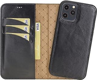 VENOULT Rustic Black iPhone 13/13 Pro / 13 Pro MAX / 13 Mini Wallet Case Genuine Leather Magnetic Detachable Luxury Flip C...